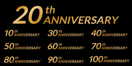 Anniversary Icon set with golden numbers. 10, 20, 30, 40, 50, 60, 70, 80, 90, 100 years birthday celebration icon illustration. Ilustração