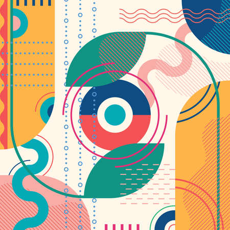 Abstract background with geometric shapes. Modern pattern design template for poster, banner, cover. Colorful vector illustration. Ilustração