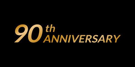 90 years anniversary logo. 90th birthday celebration golden icon. Vector illustration.