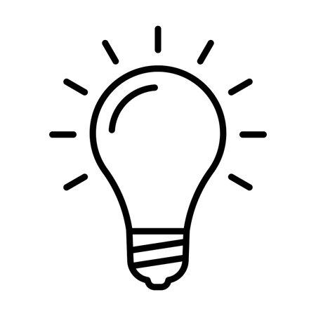 Lamp icon. Light bulb sign. Idea, solution or innovation outline symbol. Vector illustration. Ilustração