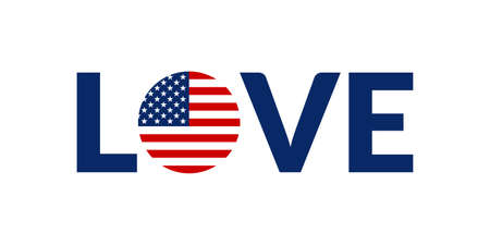 Love USA design with American flag. US patriotic  sticker or badge. Typography design for T-shirt graphic. Vector illustration.