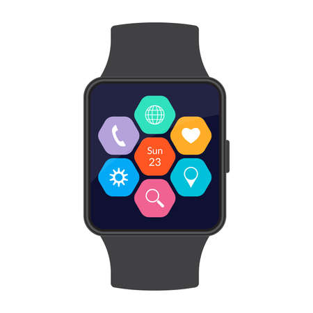 Smart watch with app icons on the screen. Smartwatch concept. Vector illustration. Иллюстрация