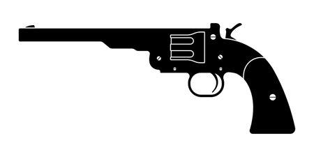 Gun revolver icon. Vintage pistol silhouette. Western handgun. Vector illustration.