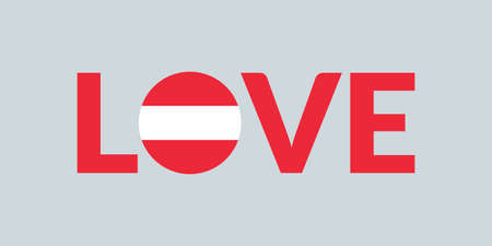 Love Austria design with Austrian flag. Patriotic logo, sticker or badge. Typography design for T-shirt graphic. Vector illustration.