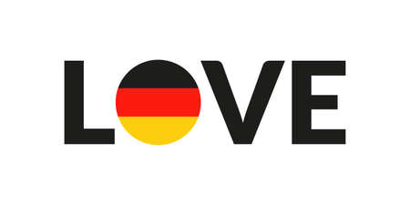 Love Germany design with German flag. Patriotic  sticker or badge. Typography design for T-shirt graphic. Vector illustration. Иллюстрация