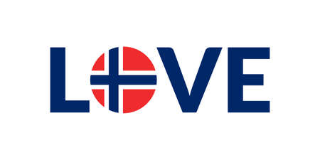 Love Norway design with Norwegian flag. Patriotic logo, sticker or badge. Typography design for T-shirt graphic. Vector illustration. Illusztráció