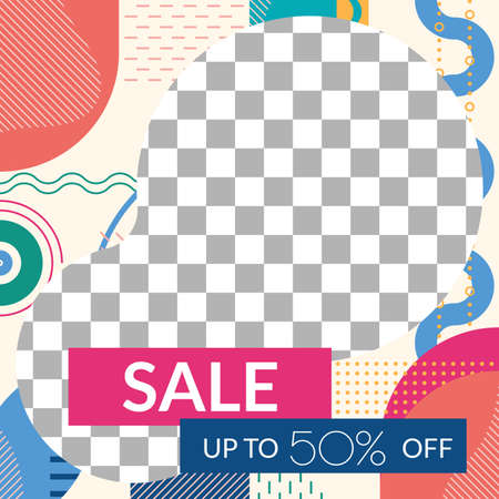 Sale social media post design. Discount frame with abstract geometric shapes. Modern square banner or poster template for promotion and marketing. Vector illustration.