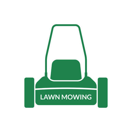 Lawn mower icon. Lawnmower front view silhouette. Lawn mowing logo. Grass care machine. Vector illustration. Иллюстрация