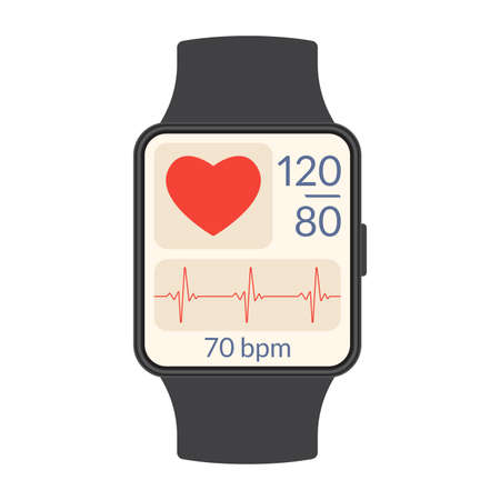 Smart watch with heartbeat rate or pulse tracker app and blood pressure monitor. Fitness application deign for smartwatch. Health care check with Heart beat line and Pulse trace. Vector illustration. Иллюстрация