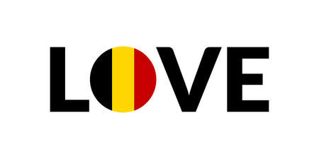 Love Belgium design with Belgian flag. Patriotic logo, sticker or badge. Typography design for T-shirt graphic. Vector illustration.