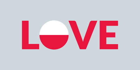 Love Poland design with Polish flag. Patriotic logo, sticker or badge. Typography design for T-shirt graphic. Vector illustration.