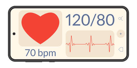 Smart phone with heartbeat or pulse tracker app and blood pressure monitor. Fitness application deign for smartphone. Health care check app with Heart beat line and Pulse trace. Vector illustration.