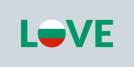 Love Bulgaria design with Bulgarian flag. Patriotic logo, sticker or badge. Typography design for T-shirt graphic. Vector illustration.