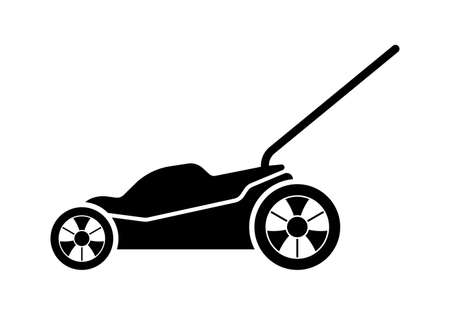 Lawn mower icon. Lawnmower silhouette. Grass care machine. Vector illustration.