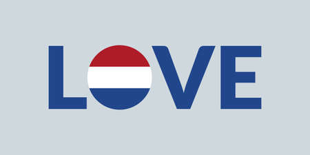 Love Holland design with Dutch flag. The Netherlands patriotic logo, sticker or badge. Typography design for T-shirt graphic. Vector illustration.