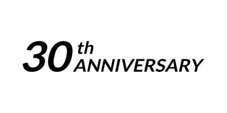 30 years anniversary logo. 30th birthday celebration icon. Vector illustration.