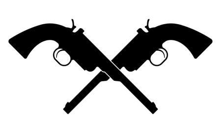 Crossed revolver guns icon. Vintage pistol silhouette. Western handgun. Vector illustration. 向量圖像