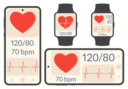 Smart phone and Smart watch with heartbeat or pulse tracker and blood pressure monitor. Fitness application deign. Health care check app with Heart beat line and Pulse trace. Vector illustration. Иллюстрация