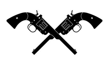 Crossed revolver guns icon. Vintage pistol silhouette. Western handgun. Vector illustration. Иллюстрация