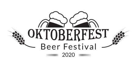 Oktoberfest banner design. Beer fest in October logo with two beer mugs. German festival poster, sign, flyer, invitation card template. Vector illustration.
