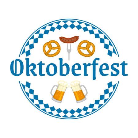 Oktoberfest logo, badge or label with beer mugs, pretzel and sausage. Beer festival poster or banner design elements. German fest sign or stamp. Vector illustration.