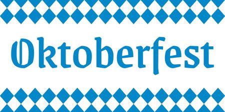 Oktoberfest lettering. German beer festival banner. Bavarian fest logo with checkered white and blue background. Vector illustration.