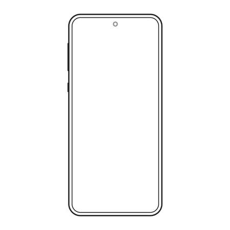 Smartphone outline icon. Mobile or cell phone screen frame design. Modern smart device line silhouette isolated on white background. Vector illustration.