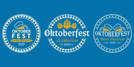 Oktoberfest   badge or label set. Beer festival poster or banner design elements. German fest signs. Stamp or seal collection with beer mugs and hop. Vector illustration. 向量圖像