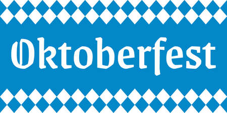 Oktoberfest lettering. German beer festival banner. Bavarian fest  with checkered white and blue background. Vector illustration. 向量圖像
