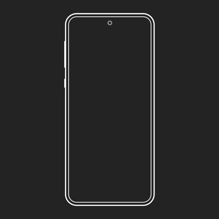 Smartphone outline icon. Mobile or cell phone screen frame design. Modern smart device line silhouette. Vector illustration. Illusztráció