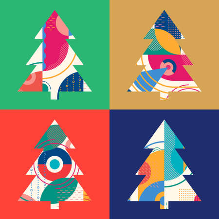 Christmas tree set with abstract geometric background. Modern Xmas design template for greeting card. Vector illustration.