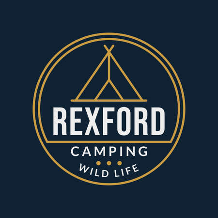 Camping badge with tourist tent or teepee. Outdoor emblems. Vector illustration.