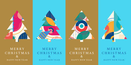 Christmas tree set with abstract geometric background. Modern Merry Xmas and Happy New Year design template for greeting card. Vector illustration.