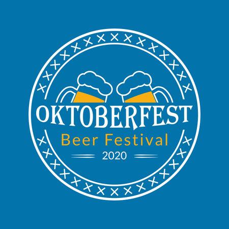 Oktoberfest   badge or label set. Beer festival poster or banner design elements. German fest signs. Stamp or seal collection with beer mugs. Vector illustration.
