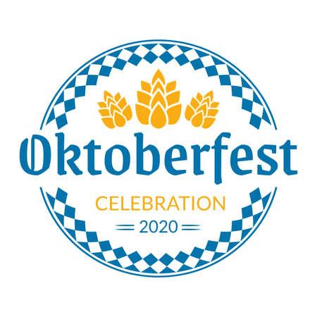 Oktoberfest   badge or label set. Beer festival poster or banner design elements. German fest signs. Stamp or seal collection with hops. Vector illustration.