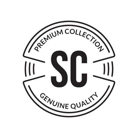 Outline stamp design. Premium, genuine quality circle emblem for business and fashion typography. Vector illustration. Ilustração
