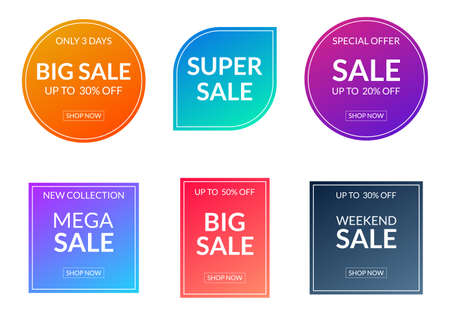 Sale sticker or label set. Price off tag and badge collection with colorful gradient. Discount and promotion icons. Vector illustration.
