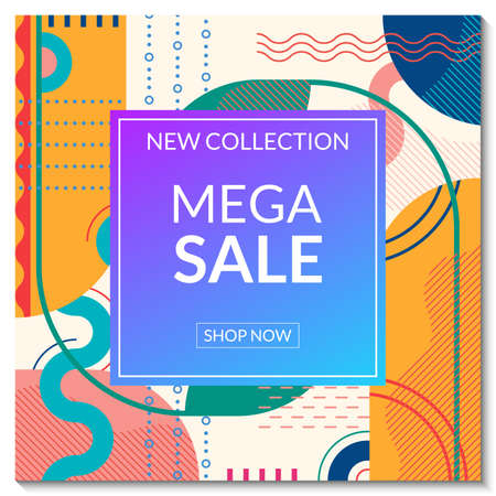 Mega Sale banner template. Discount promo poster design with abstract geometric background for fashion, price off coupon, flyer, website, newsletter, social media post. Vector illustration.