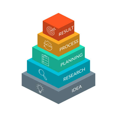 Business pyramid chart. 3d info graphic design with 5 level or steps and business icons. Modern elements for presentation, workflow layout, marketing and hierarchy infographics. Vector illustration. Ilustração