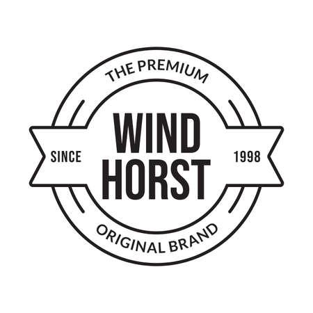 Outline stamp design. Premium product, original brand circle emblem for business and fashion typography. Vector illustration. 向量圖像
