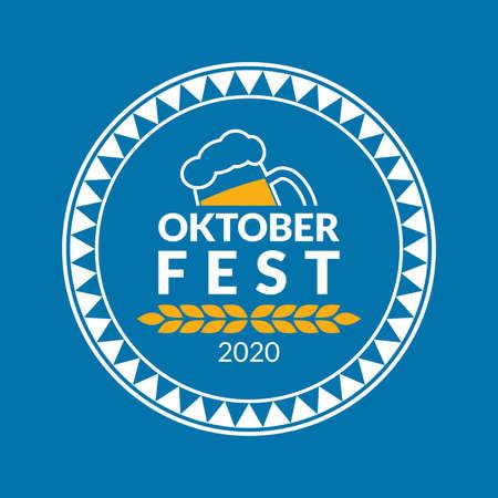 Oktoberfest  badge or label set. Beer festival poster or banner design elements. German fest signs. Stamp or seal collection with beer mug. Vector illustration.