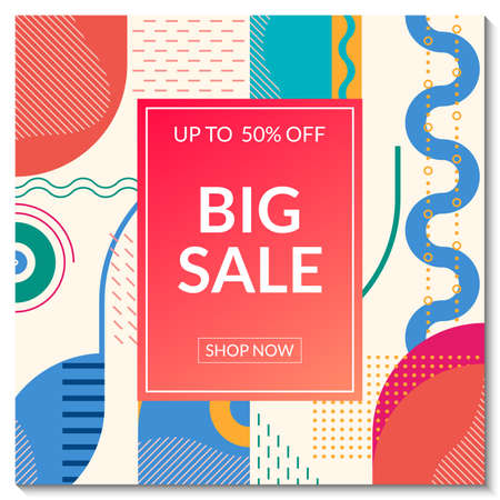 Big Sale banner template. Discount promo poster design with abstract geometric background for fashion, price off coupon, flyer, website, newsletter, social media post. Vector illustration.
