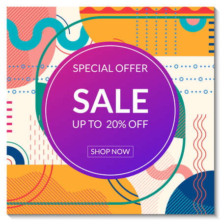 Sale banner template. Discount promo poster design with abstract geometric background for fashion, price off coupon, flyer, website, newsletter, social media post. Vector illustration. Ilustração