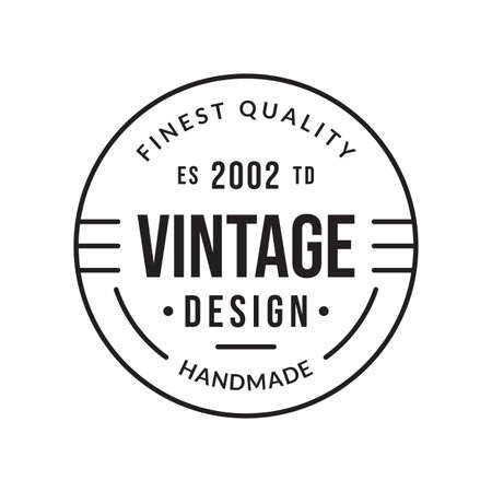 Outline stamp design. Premium, quality, handmade product circle emblem for business and fashion typography. Vector illustration. 向量圖像