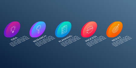 5 steps, option or levels info graphic design with five 3d or isometric circles and business icons. Modern elements for presentation, workflow layout, timeline infographics. Vector illustration.