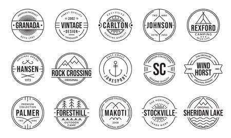 Vintage badge and label set. Retro  design. Outline stamp collection. Original, premium quality emblems for business and fashion typography. Vector illustration.