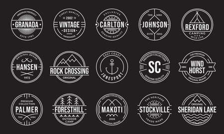 Vintage badge and label set. Retro logo design. Outline stamp collection. Original, premium quality emblems for business and fashion typography. Vector illustration.