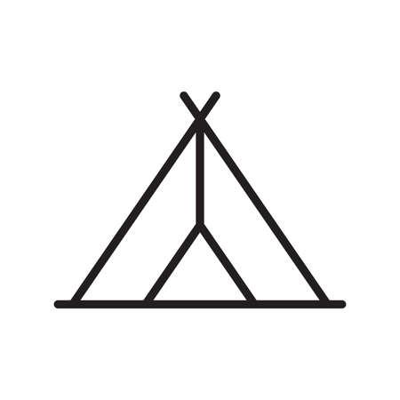 Tourist tent line icon. Camping symbol. Vector illustration.