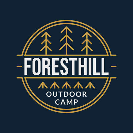Outdoor Camping badge with forest and tourist tents. Vector illustration.