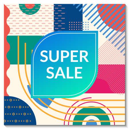 Super Sale banner template. Discount promo poster design with abstract geometric background for fashion, price off coupon, flyer, website, newsletter, social media post. Vector illustration. Ilustração